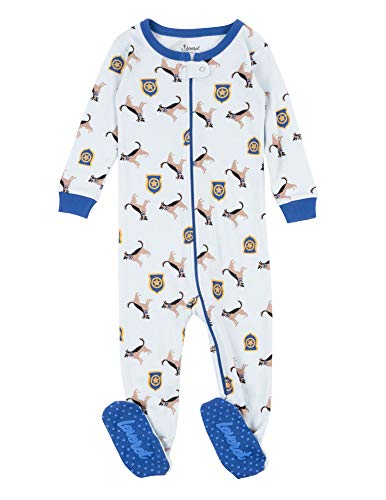 Leveret Kids Pajamas Baby Boys Girls Footed Pajamas Sleeper 100% Cotton (Police Dog, Size 12-18 Months)