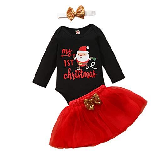 Marxways_ Newborn - Conjunto básico de body y falda de tul con lazo, camiseta básica, túnica, suéter, Navidad, bebé, niña, ropa básica, túnica Negro 90 Talla única