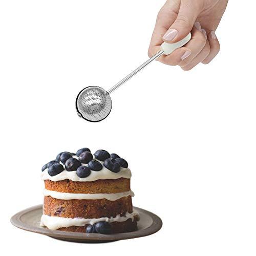 UEVOS Bäcker's Dusting Zauberstab Puderzucker Handsieb Edelstahl Einhand Mehlsieb Zuckerpulverlöffel für Zuckermehl und Gewürze