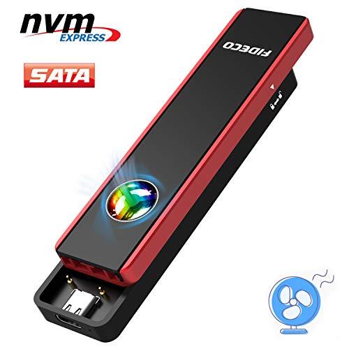 FIDECO M.2 NVME and SATA SSD Gehäuse - USB 3.2, Gen2, 10Gbps, Festplattengehäuse Adapter mit Eingebautem Lüfter und RGB-Licht, Festplatten-Caddy für M.2 NVME oder SATA SSD 2230/2242/2260/2280
