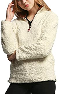frdmbeauty Women's Warm Fuzzy Lapel Faux Oversized Sherpa Pullover Fleece Sweatshirt Outwear Coat Winter Jackets