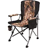 REDCAMP Camping Chairs for Adults Heavy Duty, Sturdy Steel Folding Lawn Chair with Padded Hard Arms and Cup Holder, Comfortable Portable for Outdoor Travel Hunting Fishing Sports, Light Camouflage