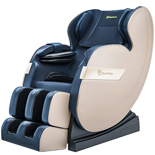 Real Relax 2019 Massage Chair, Full Body Zero Gravity Shiatsu Recliner with Bluetooth and Led Light