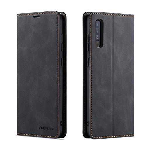 QLTYPRI Hülle für Samsung Galaxy A50, Premium Dünne Ledertasche Handyhülle mit Kartenfach Ständer Flip Schutzhülle Kompatibel mit Samsung Galaxy A30S A50 A50S - Schwarz