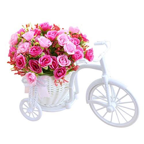 Frauherzz Fahrrad künstliche Blume Dreirad Blumenkorb Garten Nostalgie Boho Deko Schlafzimmer Pflanzenständer Mini Fahrrad Blumenständer für Wohnaccessoires & Deko