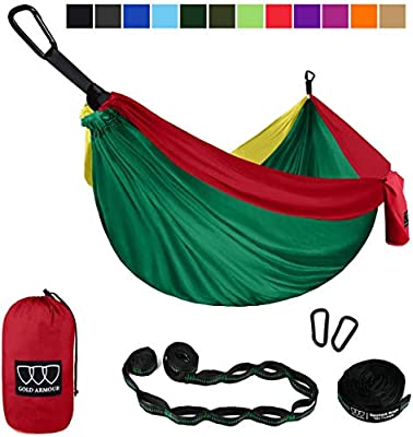 Gold Armour Camping Hammock - XL Double Parachute Hammock (2 Tree Straps 16 LOOPS/10 FT Included) USA Brand Lightweight Nylon Mens Womens Kids, Best Camping Accessories Gear (Green/Yellow/Red)
