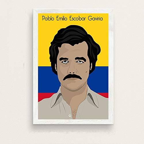 Frameloos Pablo Escobar Hot Beroemde Kunst Schilderij Zijde Canvas Poster Muur Home Decor <> 40x50cm