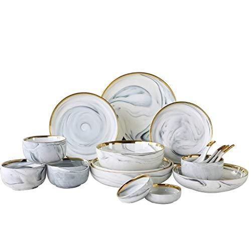 ZEH Placas de cerámica de mármol Oro Inlay Steak Placa de Comida de Estilo nórdico Estilo vajilla Postre Plato para la Cena para la Cocina Juego de vajillas FACAI
