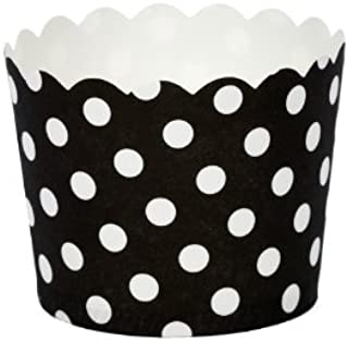 Simply Baked Small Paper Baking Cups Dots, Black and White, 25 Count