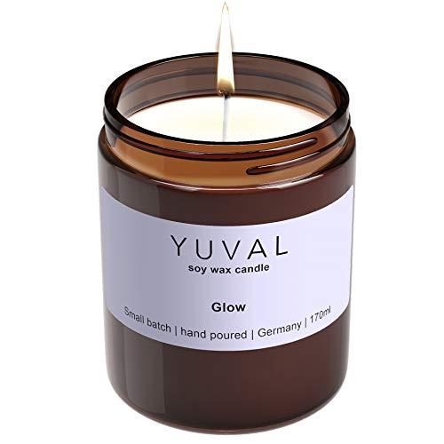 YUVAL vegane Duftkerze im Glas aus Bio-Sojawachs mit Lorbeere und Lavendel - 100% nachhaltig handgemacht natürlich