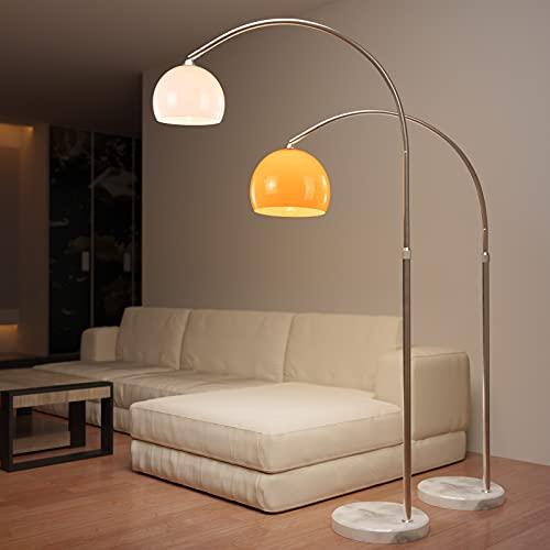 Jago® Lampada ad Arco - CEE: A++, Colore e Diametro a Scelta, Paralume Ruotabile, Base Rotonda in Marmo, E27, max 60 W, o LED - Lampada da Terra, Pavimento (Altezza: 130 - 180cm, Bianco)