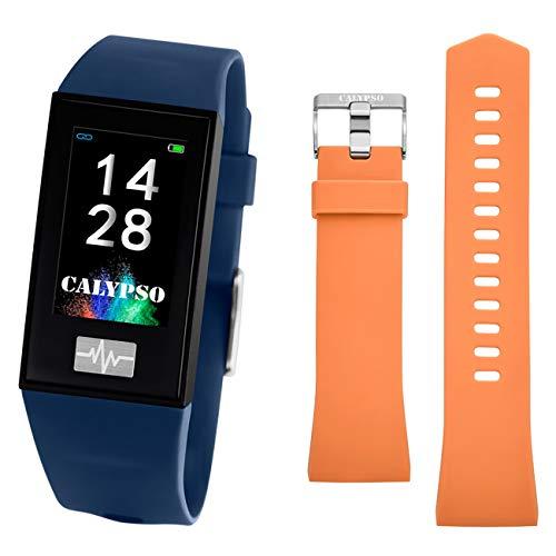 CALYPSO Reloj Modelo K8500/5 de la colección SMARTWATCH, Caja de 23,80/41,60 mm Digital con Correa de Caucho Azul Oscuro para Caballero