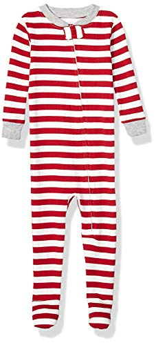 Amazon Essentials Unisex Kinder Zip-Front infant-and-toddler-sleepers, Rot (Red Even Stripe), 90 cm (Herstellergröße: 2T)