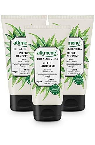 alkmene Handcreme mit Bio Aloe Vera - Handcreme für sehr trockene Hände - vegane Handcreme ohne Silikone, Parabene, Mineralöl, PEGs, SLS & SLES im 3er Vorteilspack (3x 75 ml)