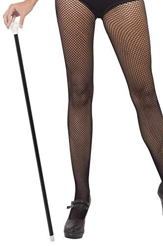 Smiffys-92116 Bastón de baile estilo años 20, con punta blanca, largo 80cm / 31in, color negro, No es applicable (92116) , color/modelo surtido