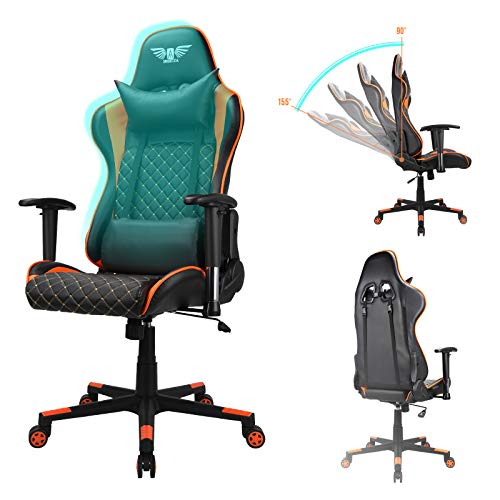 Acethrone Gaming Chair Ergonomic Video Game Chair Recliner Leather High Back Computer Office Chair Racing Style Backrest Seat Height Adjustable Swivel Task Chair with Headrest and Lumbar Support Black