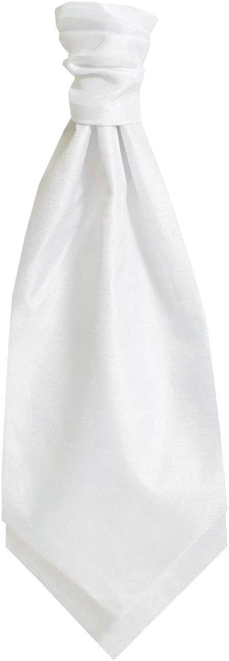 Dobell Mens White Cravat Dupion Satin-Feel Hand-Tied