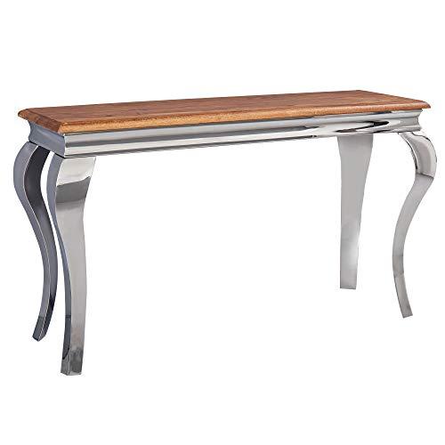 FineBuy Konsolentisch Sheesham Massivholz/Metall 130x76,5x42 cm Flurtisch   Design Wohnzimmertisch Schmal   Anrichte Schreibtisch Modern