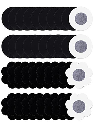 20 Pares Pezoneras de Invisibles Desechable Cubierta de Pezón Sujetador de Adhesivo Mujer para Vestido Boda, Redondo y Flor Negro
