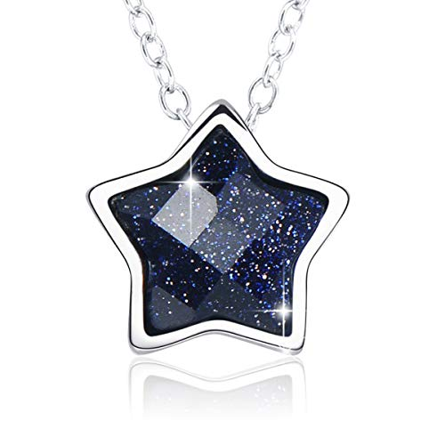 SIMPLGIRL Star Necklace for Women, 925 Sterling Silver Five Point Star Pendant Necklace Fashion Jewellery with Box Ladies Girls Daughter Gifts Birthday