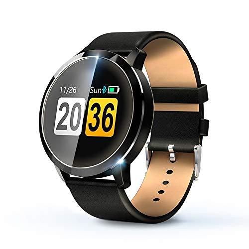 KawKaw Q8A Smart Watch Für Damen und Herren, IP67 wasserdichte Fitnessuhr mit integriertem Fitnesstracker, Pulsmesser, Schrittzähler, Kalorienzähler und Whatsapp, ideale Sportuhr (Leder Schwarz)