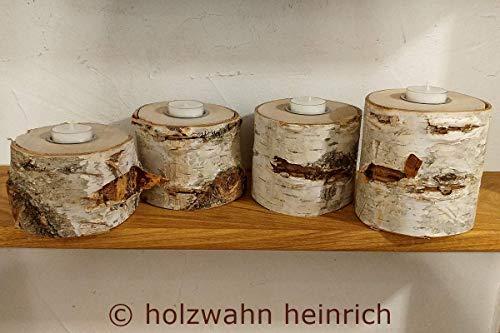 Kerzenständer Birkenstamm, 4-er-XL-Set aus fortlaufendem Holz mit Teelichteinfassung aus Metall und hochwertigen Teelichtern, Teelichthalter, Kerzenhalter