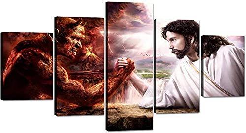 HUA JIE Pinturas Decorativas Láminas HD 5 Paneles Jesús Vs Malvado Lienzo Pintura Satanás Vs Cristo Lucha De Brazo Pared Arte Póster Impresiones Divertidas Imagen PK