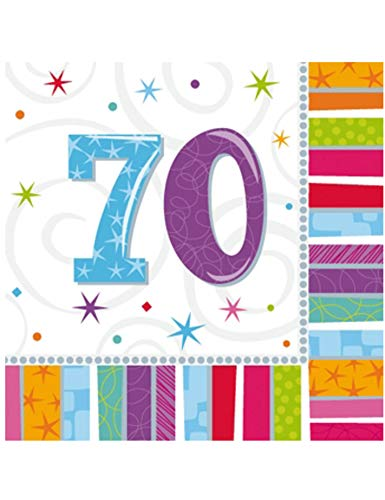 COOLMP – Set di 12 – 16 tovaglioli di carta 70 anni 33 x 33 cm – Taglia unica – Decorazione accessori di festa, animazione, compleanno, matrimonio, eventi, giocattoli, palloncino