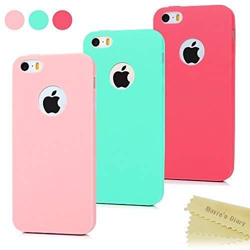 3x Funda iPhone SE, Carcasa iPhone 5S Silicona Gel - Mavis's Diary Mate Case Ultra Delgado TPU Goma Flexible Cover para iPhone 5/5S/SE - Rojo, Rosa claro, Verde menta