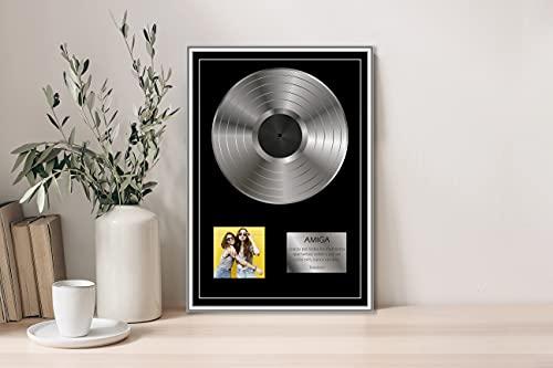 Oedim Regalo Original Placa Metacrilato Disco de Plata Personalizado, Fabricado en Metacrilato 4mm, 31x45cm, Efecto Espejo, Sin Apoyo