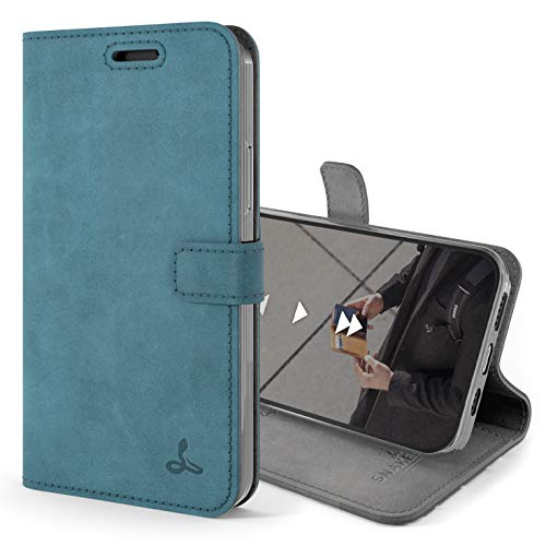 Snakehive Vintage Wallet for Apple iPhone 12 Mini || Real Leather Wallet Phone Case || Genuine Leather with Viewing Stand & 3 Card Holder || Flip Folio Cover with Card Slot (Teal)
