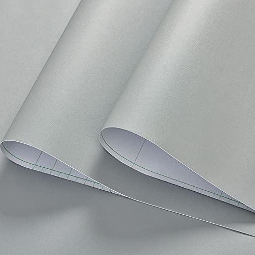 Autoadhesivo Papel Pared, Vinilos Para Muebles, Papel Pintado Autoadhesivo Impermeable de PVC para Decoración y Renovación de Color Puro para Paredes y Muebles (Gris Claro)