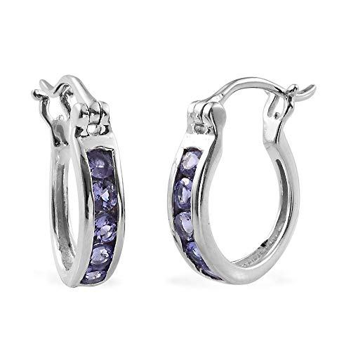 TJC Tanzanite Hoop Earrings In Platinum Plated Sterling Silver Women Hoops 1 Ct Valentines Day Gift for Women