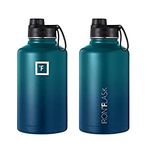 IRON °FLASK Sports Water Bottle - 64oz, 3 Lids (Spout Lid), Vacuum Insulated Stainless Steel, Hot Cold, Modern Double Walled, Simple Thermo Mug, Hydro Metal Canteen (Dark Night)