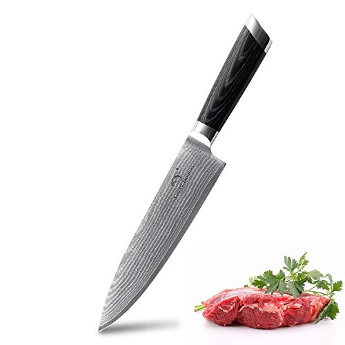 Damascus Chef Knife 8 Inch, Pro Grade 67 Layer VG-10 Stainless Steel Ultra Sharp Kitchen Knife, Santoku Knife with Ergonomic Handle, Presented in Gorgeous Gift Box