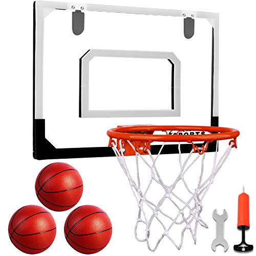 Indoor Mini Basketball Hoop Set with 3 Balls for Kids and Adults - Pro Mini Basketball Hoop for Door & Wall with Complete Basketball Accessories Perfect Christmas Birthday Gifts for Kids Boys Teens