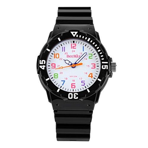 BesWLZ Kinder und Jugendliche Uhr Analog Quarz Wasserdicht mit Plastik Armband Schwarz