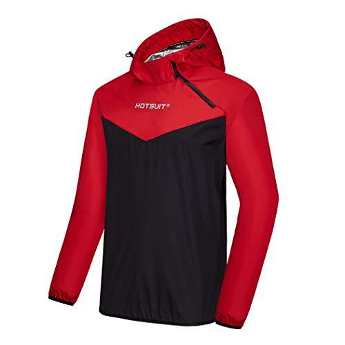 HOTSUIT Saunajacke Herren Schwitzjacke Trainingsjacke Sportshirt Abnehmen Fitness Trainingsshirt, Rot, XL