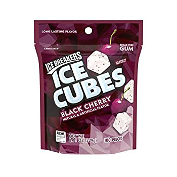 ICE BREAKERS ICE CUBES Black Cherry Flavored Sugar Free Chewing Gum Made with Xylitol 8.11 oz Bag  100 Pieces