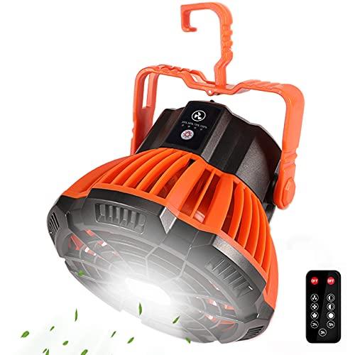 Camping Ventilator, KNMY Tleise Ventilator mit LED Lichter, USB Wiederaufladbar Tischventilator 5200mAh Power Bank, 180°Rotation Zeltventilator Licht mit Fernbedienung für Schlafzimmer Camping Reisen