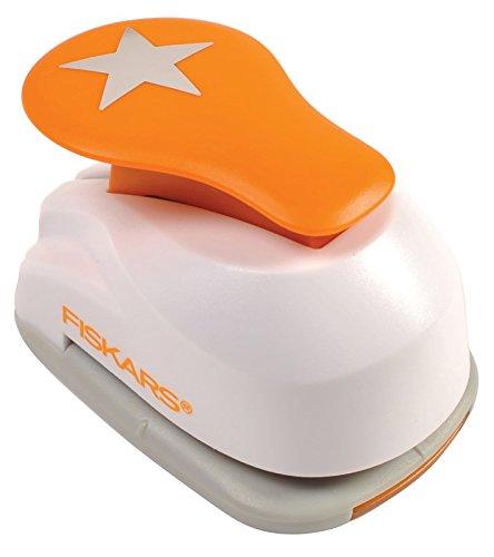 Fiskars Perforadora de figuras, Estrella, Ø 2,5 cm, Para diestros y zurdos, Acero de calidad/Plástico, Blanco/Naranja, Lever Punch, M, 1004722