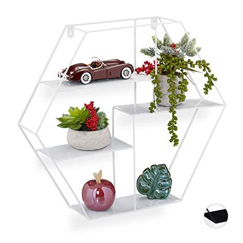 Relaxdays Estantería de Pared con 4 estantes, Flotante, Hexagonal, para salón, Cocina, Hierro, 45 x 52 x 10 cm, Color Blanco, 1 Unidad
