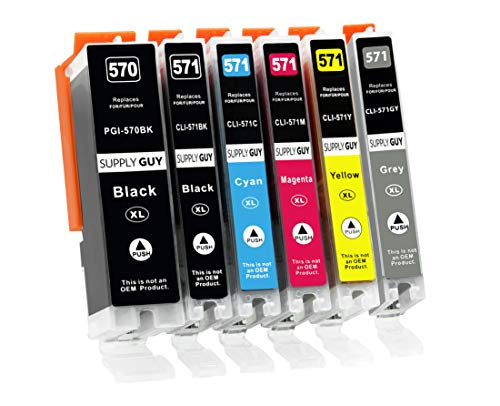 Supply Guy 6 XL Druckerpatronen mit Chip kompatibel mit Canon PGI-570 CLI-571 für Pixma MG-7700 MG-7750 MG-7751 MG-7752 MG-7753 TS-8000 TS-8050 TS-8051 TS-8052 TS-8053 TS-9000 TS-9050 TS-9055
