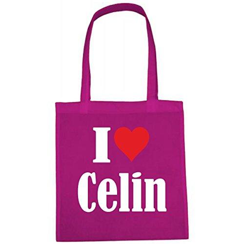 Tasche I Love Celin Größe 38x42 Farbe Pink Druck Weiss