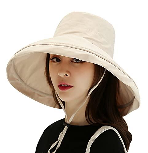Sombrero Verano Mujeres Sombrero Mujer Sombrero ala Ancha Sombreros Baratos Protección UV UPF 50 Sombrero De Verano para Mujer Sombrero Impermeable Mujer Negro Sombrero Mujer Beige M