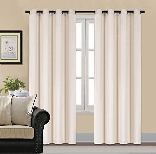 HCILY Velvet Blackout Curtains Thermal Insulated for Bedroom 2 Panels (W52'' x L84'', Cream)