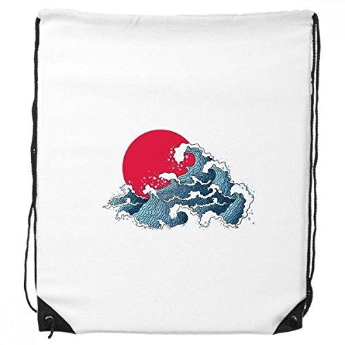 DIYthinker Japón Red Sun Mar Acuarela morral del Lazo de Compras Deportes Bolsas de Regalo