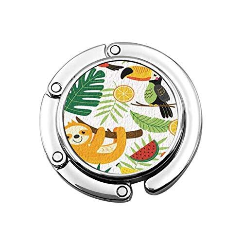 Lindo Perchero Plegable para Mesa, Gancho de Monedero Animales Tropicales Perezoso pájaros en Hojas de Palma Verde