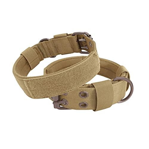 PPuujia Collar de perro personalizado con nombre militar de nailon ajustable para perro con anillo para perros medianos y grandes (color verde militar, tamaño: L (19 21 pulgadas)