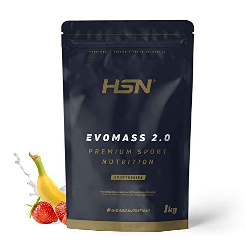 Ganador de Peso y Masa Muscular de HSN | Evomass 2.0 | Weight Gainer: Carbohidratos (Maltodextrina + Harina de Avena) + Whey Protein | Vegetariano, Sabor Fresa Banana, 1Kg